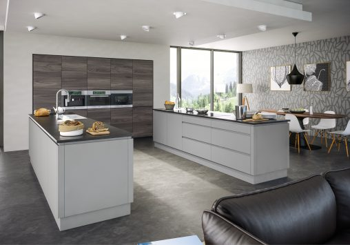 Rothwell Supermatt Light Grey Malton Lava Elm Kitchen
